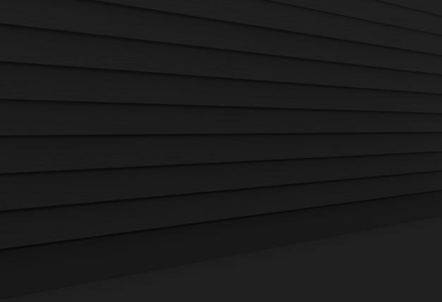 Visão em perspectiva de parede de painéis de madeira preto escuro e fundo do piso.