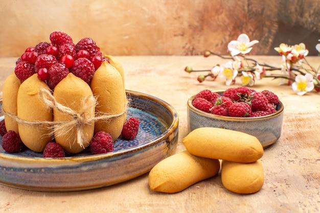 Visão horizontal de bolo macio recém-assado com frutas e flores de biscoitos em uma mesa de cores diferentes