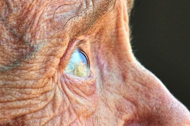 Visão macro de um olho de mulheres idosas