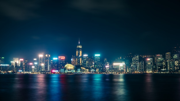 Visão noturna de hong kong