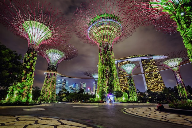 Visão noturna de jardins da baía, singapura