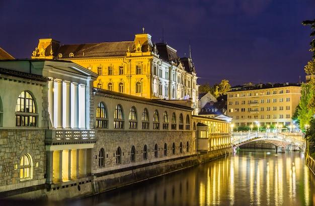 Visão noturna de ljubljana na eslovênia