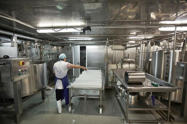 Visão traseira de grande angular no trabalhador usando unidades de máquina na fábrica de queijo e laticínios, produção de alimentos, espaço de cópia