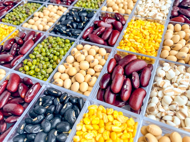 Visão vertical de grãos saudáveis