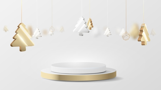 Visor 3d luxuoso com círculo de ouro e prata com elemento de suspensão para árvore de natal. ilustração vetorial