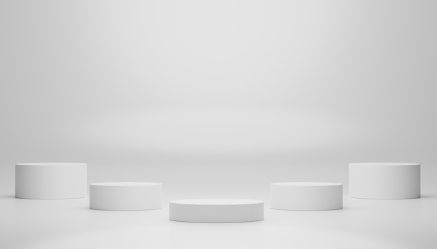 Visor de pódio 3d em branco na cor de mármore branco para o produto presente e maquete