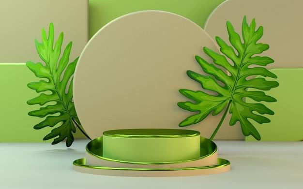 Visor de pódio de aparência metálica verde com estágio de apresentação de produto em folha renderização em 3d
