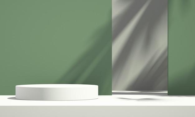 Visor de pódio de produto verde 3d com fundo verde e branco e sombra de árvore, fundo de maquete de produto de verão, ilustração 3d render