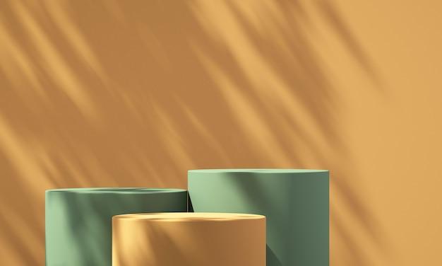 Visor de pódio de produto verde e laranja 3d com fundo laranja e sombra de árvore, fundo de maquete de produto de verão, ilustração 3d render