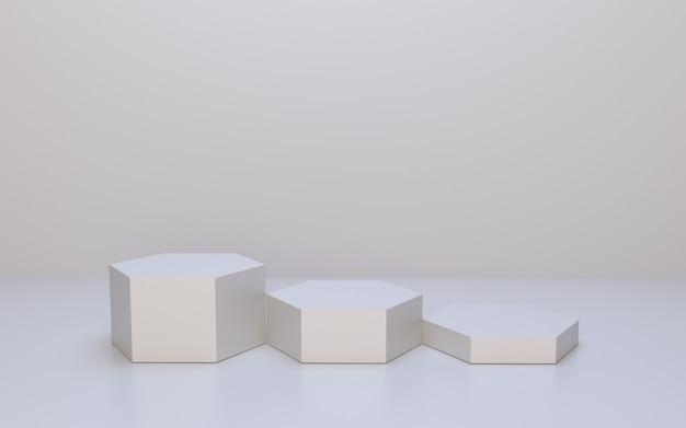 Visor de produto branco hexágono pódio