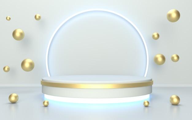 Visor de produto glow light podium com mármore dourado