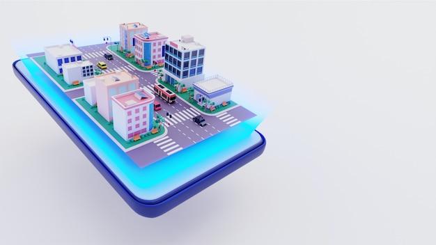 Vista 3d de edifícios ao longo da rua de transporte na tela do smartphone.