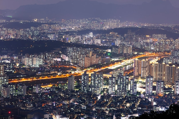 Vista aérea à noite de seul, coreia do sul