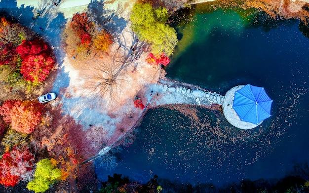 Vista aérea bonita do parque nacional de naejansan, coreia do sul.