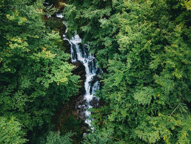Vista aérea da cachoeira dos cárpatos na temporada de outono