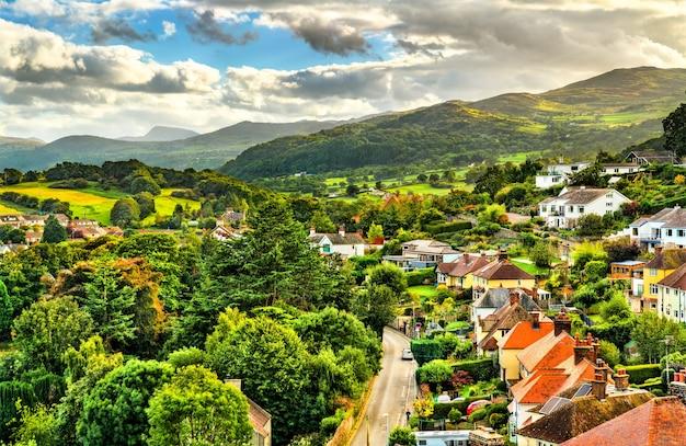 Vista aérea da cidade de conwy no país de gales, reino unido