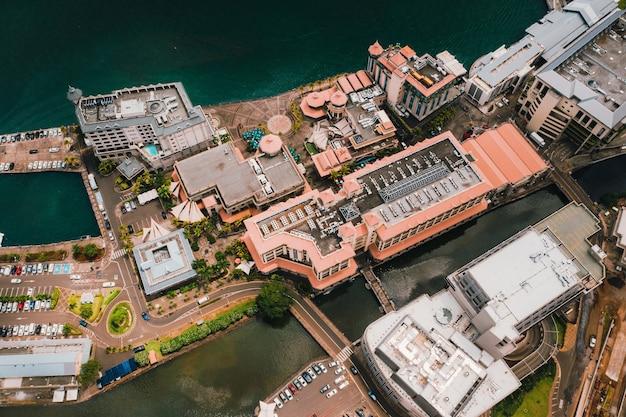 Vista aérea da cidade de port-louis, maurício, áfrica.