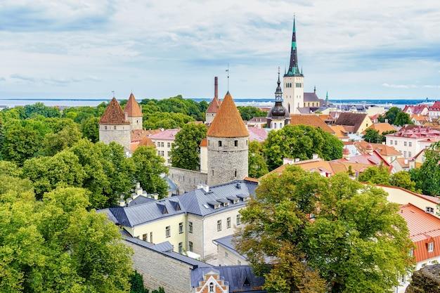 Vista aérea da cidade de tallinn, com suas torres medievais e nuvens ao pôr do sol. estônia.