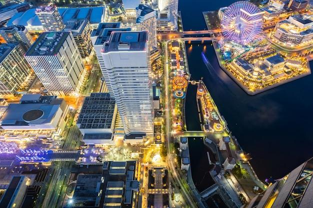 Vista aérea da cidade de yokohama