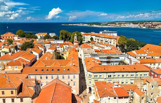 Vista aérea da cidade velha de zadar, na croácia