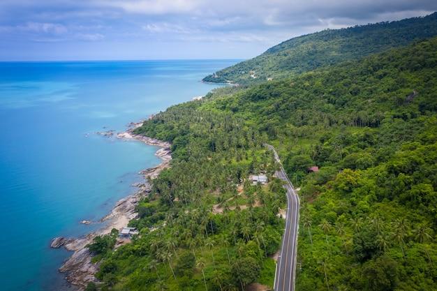 Vista aérea da estrada entre o coqueiro e o grande oceano durante o dia