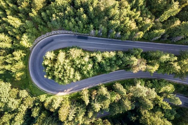 Vista aérea da estrada sinuosa na alta montanha passar através de densos pinhais verdes.
