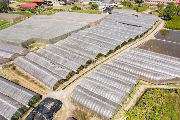 Vista aérea da estufa no município de puli, nantou, taiwan