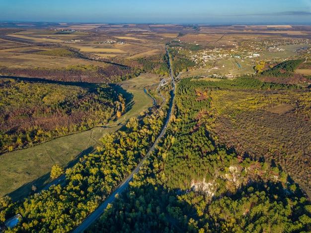 Vista aérea da floresta colorida no outono com estrada cortando