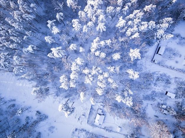 Vista aérea da floresta de inverno topo das árvores na neve após uma forte nevasca aldeia nevada e estrada