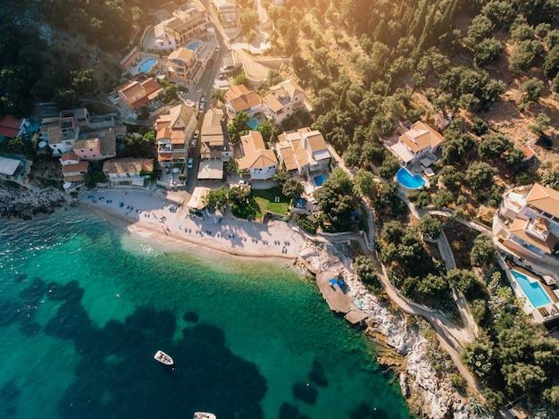 Vista aérea da ilha de corfu