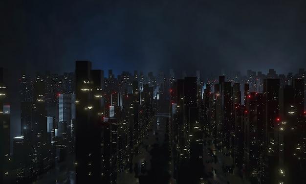 Vista aérea da megacidade à noite