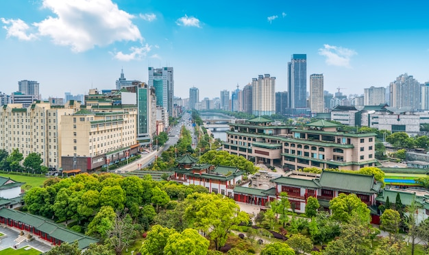 Vista aérea da paisagem da cidade de nanchang