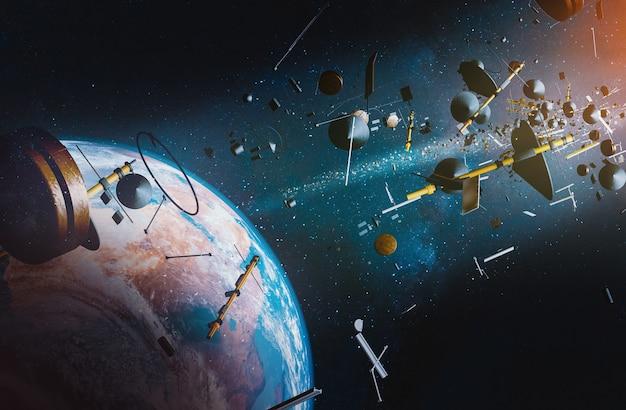 Vista aérea da terra cercada por lixo espacial de naves espaciais e satélites; ilustração 3d