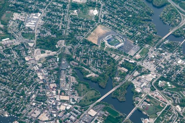 Vista aérea da us naval academy, annapolis, maryland