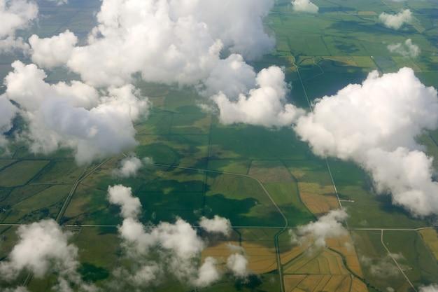 Vista aérea, de, a, campo