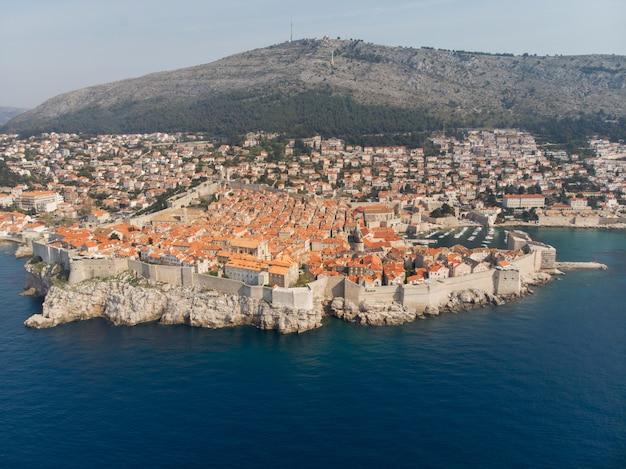 Vista aérea, de, a, cidade velha, de, dubrovnik, croácia
