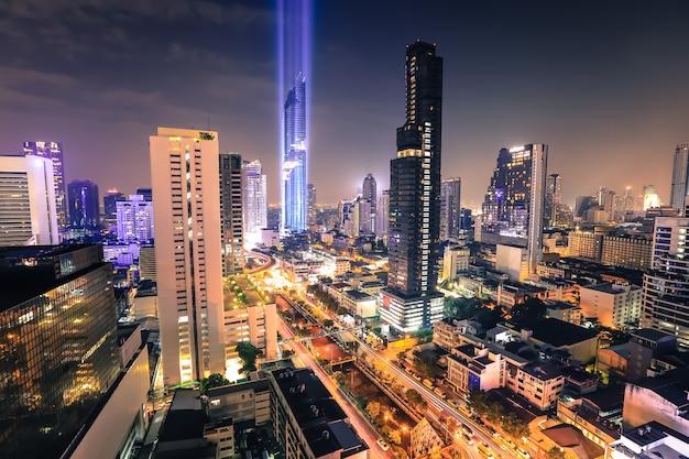 Vista aérea, de, bangkok, modernos, edifícios escritório