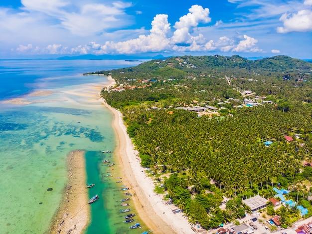 Vista aérea, de, bonito, praia tropical