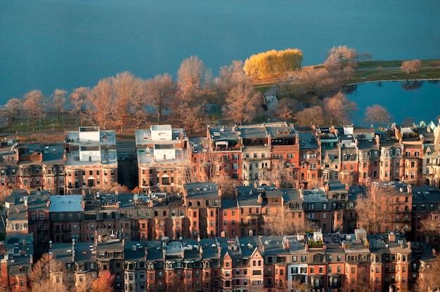Vista aérea, de, boston, massachusetts, eua