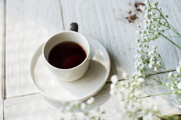 Vista aérea, de, café quente, bebida