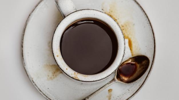 Vista aérea de café quente