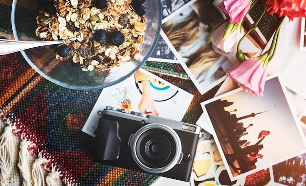 Vista aérea, de, câmera, e, fotos