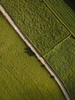 Vista aérea de campos verdes vibrantes separados pela rodovia