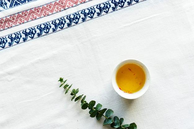 Vista aérea, de, cártamo, bebida chá