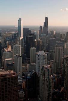 Vista aérea, de, chicago, cityscape