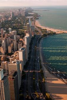 Vista aérea, de, chicago, lago, costa, conduzir