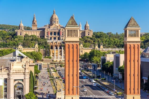 Vista aérea, de, cidade barcelona, e, plaza espanya, espanha
