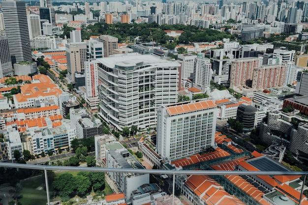 Vista aérea, de, cityscape