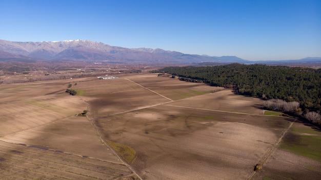 Vista aérea, de, colheita, campos