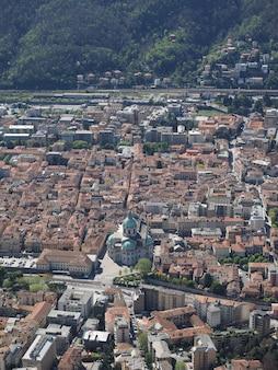 Vista aérea de como, itália